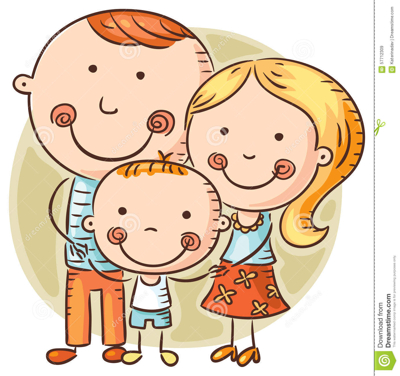 Happy Cartoon Family With One Child Stock Vector.