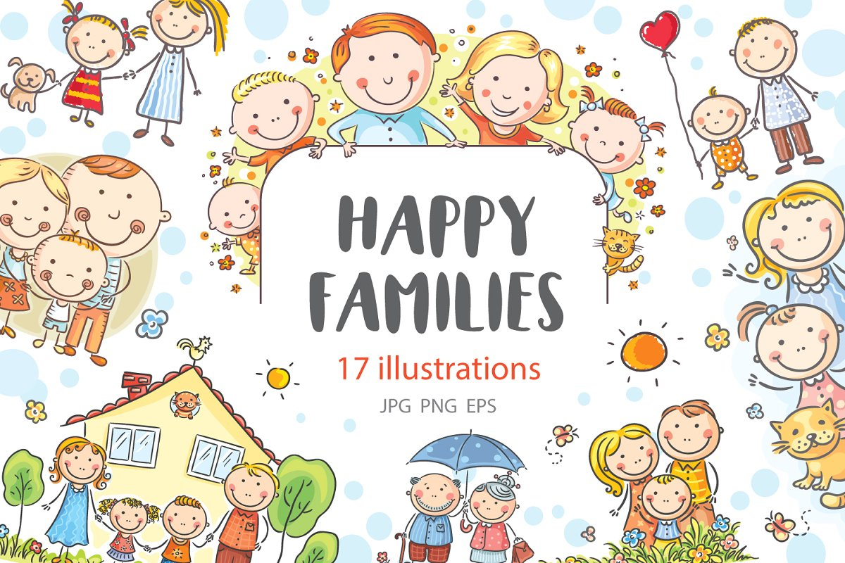 Happy families bundle family clipart.
