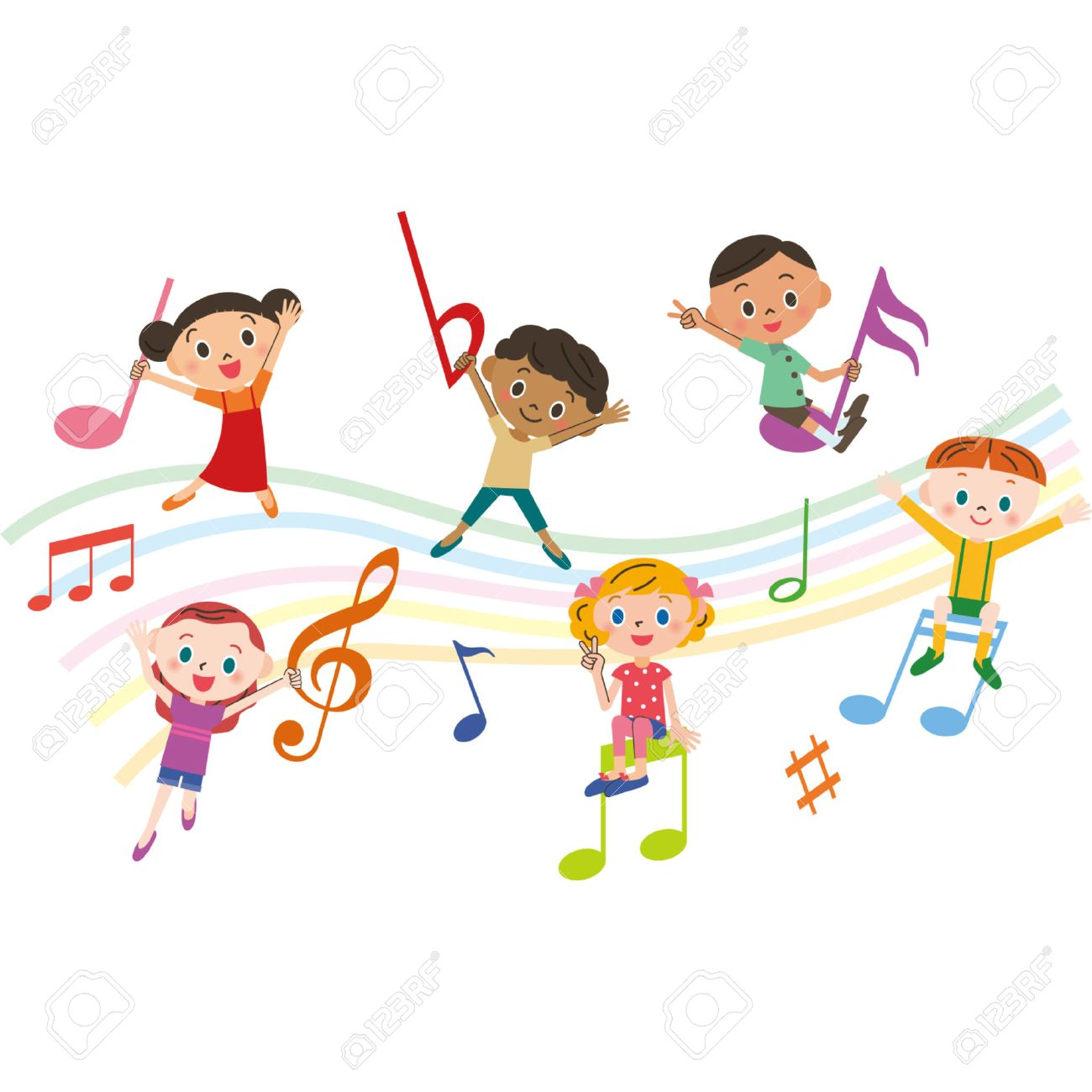 children with music notes.