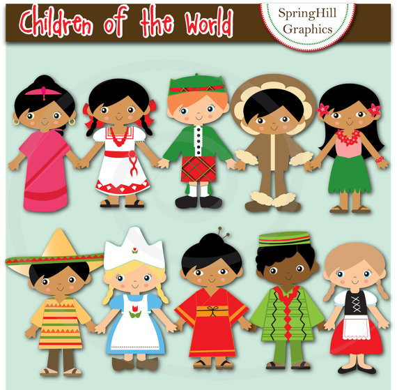 Instant Download Children of the World Digital Clip Art for Card.