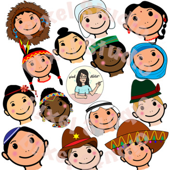 Children faces from around the world clipart.