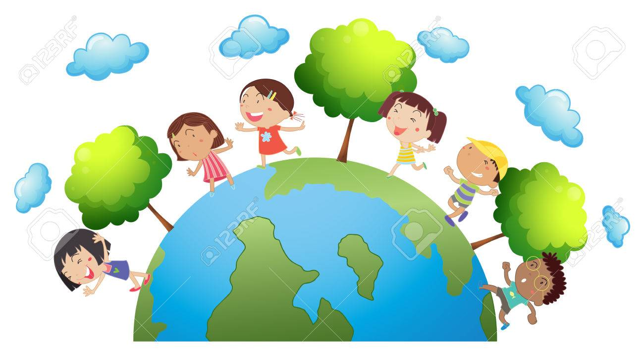 Happy children around the world illustration.