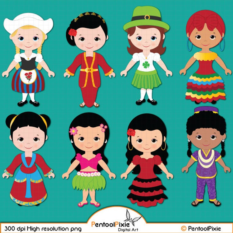 Girl children of the World clipart.
