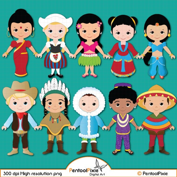 Children of the World clipart PART 1, Children around the World, World  Children, Global clipart, Children, Unity clipart, Ethnic Kids.