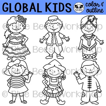 Multicultural Kids from Around the World Clip Art.