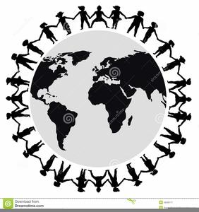 Clipart Children Around World Black White.
