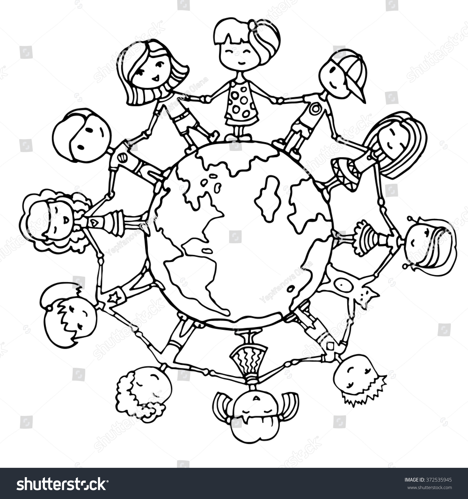 Children Of The World Clipart Black And White.