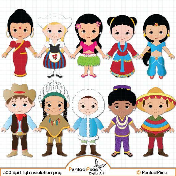 Children of the World clipart PART 1, Children around the.