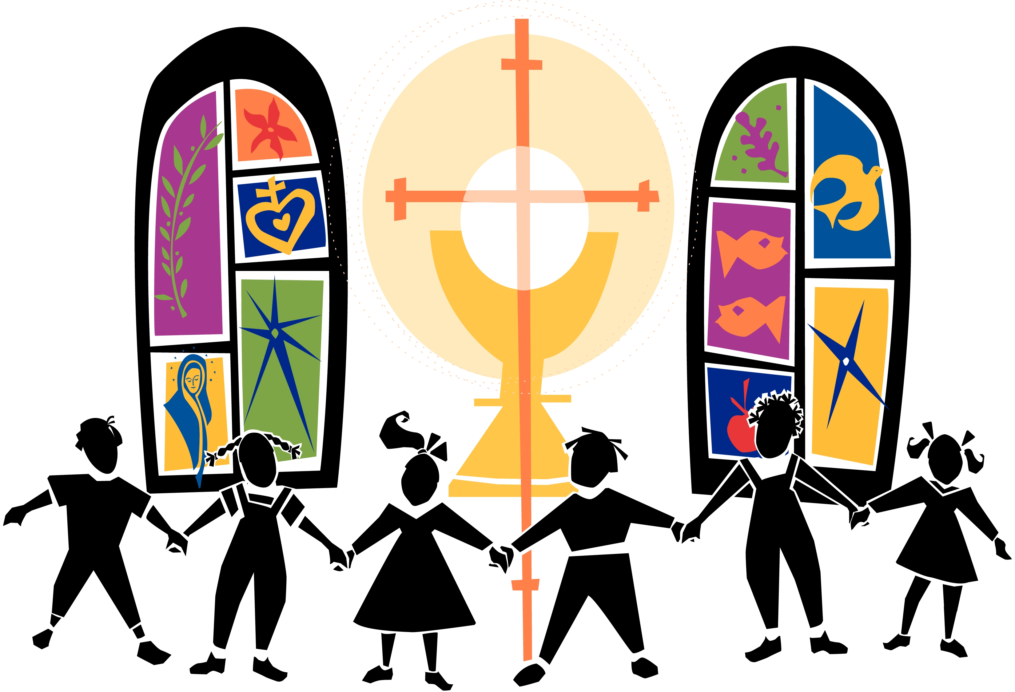Kids Church Clipart Black Children.