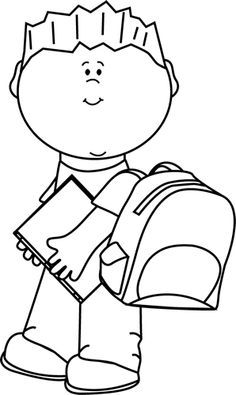 black and white school kids clipart #49.