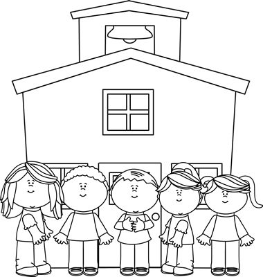 Black and White School Kids at School Clip Art.