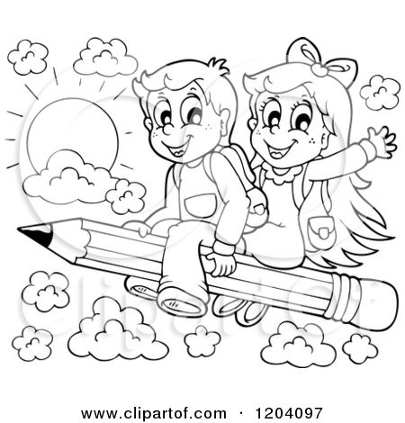 Cartoon of Black and White Happy School Children Flying on a.