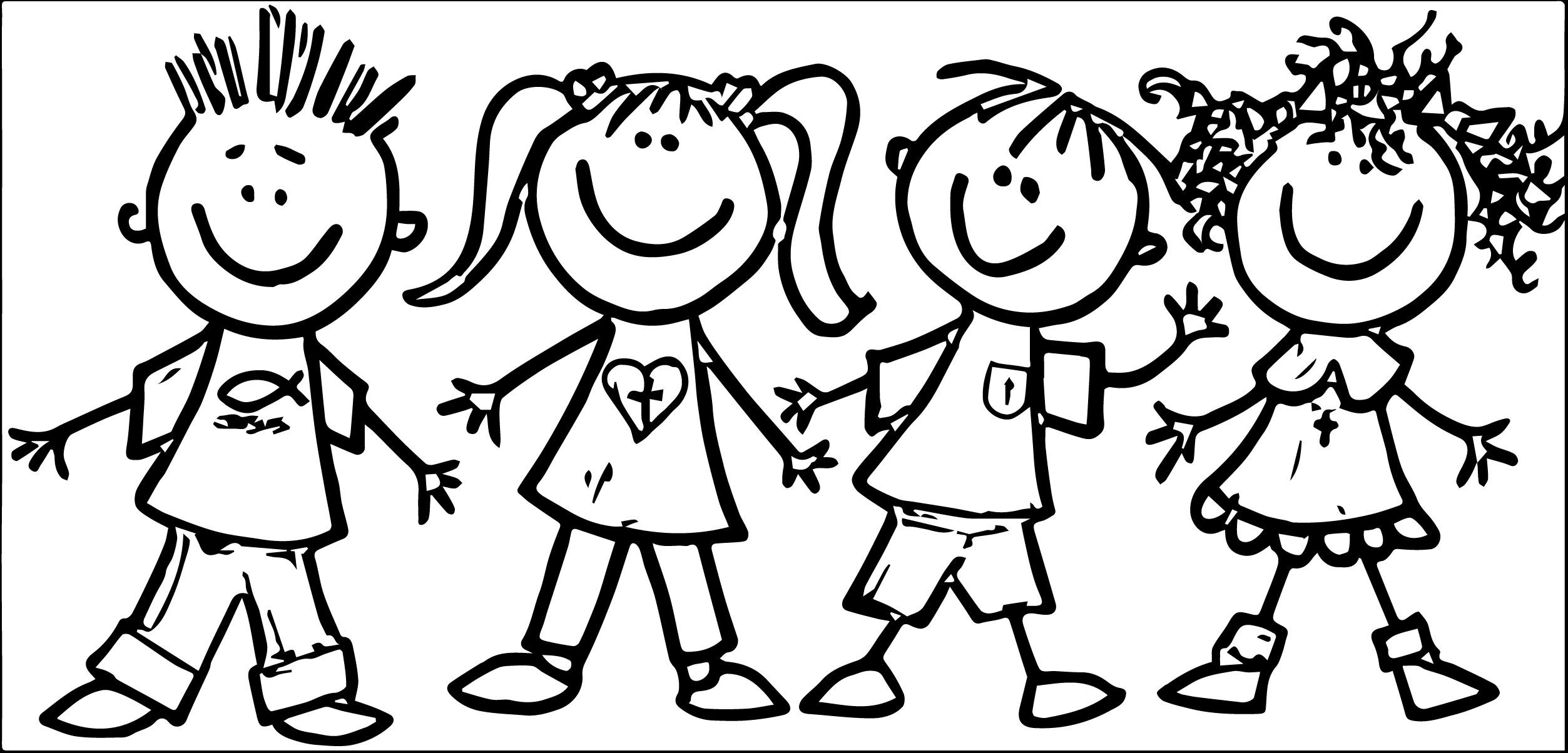 Children At School Clipart Black And White.