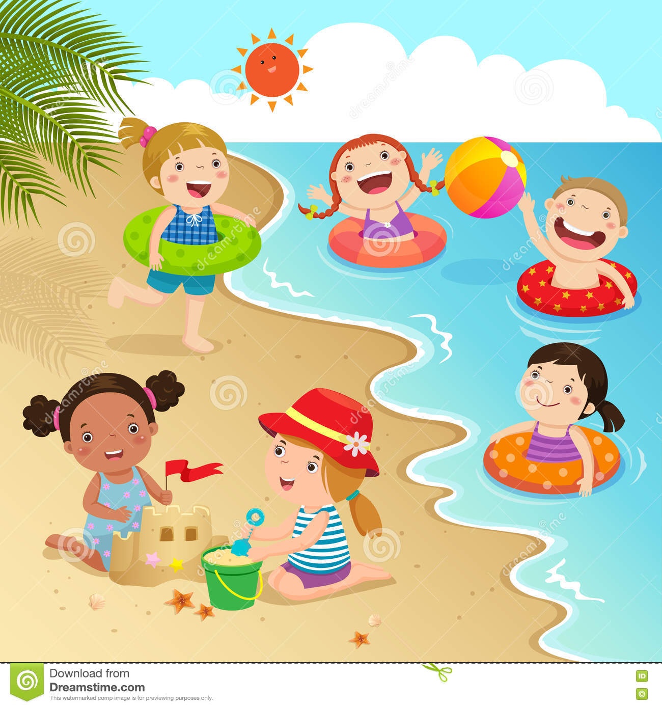 Group Of Kids Having Fun On The Beach Stock Vector.