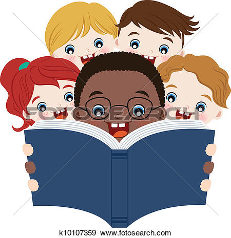 Clipart of children reading a book k8635775.