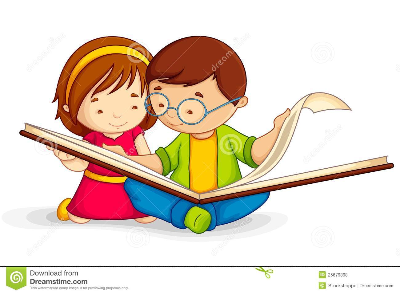 Children reading a book clipart.