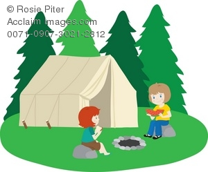 Clip Art Illustration Of Little Girls Camping Out.
