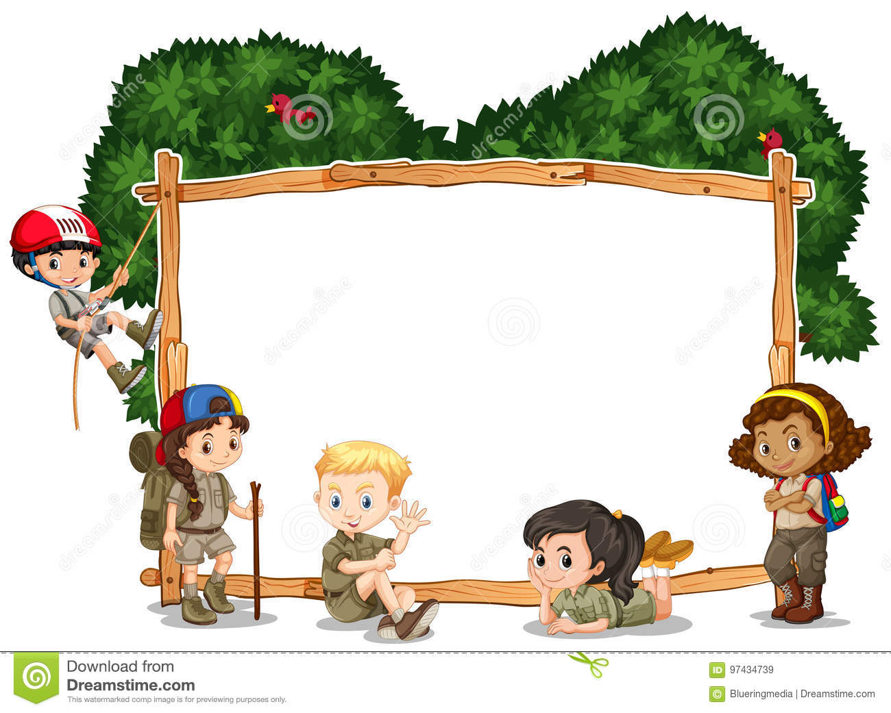 Frame Template With Kids Camping In Background Stock Vector.