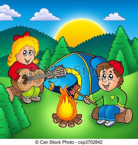 Two camping kids.