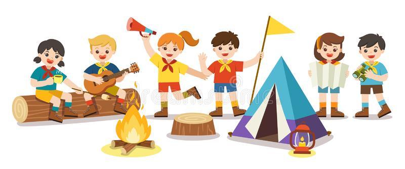 Kids Camp Stock Illustrations.