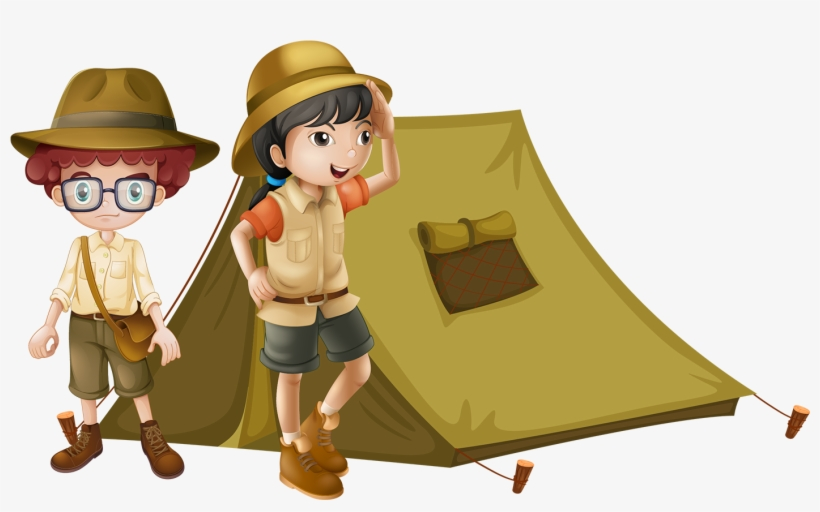 Hand Painted Cartoon Children Camping Decoration Vector.