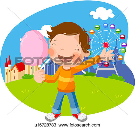 Clipart of cap, girl, hot air balloon, elementary school student.