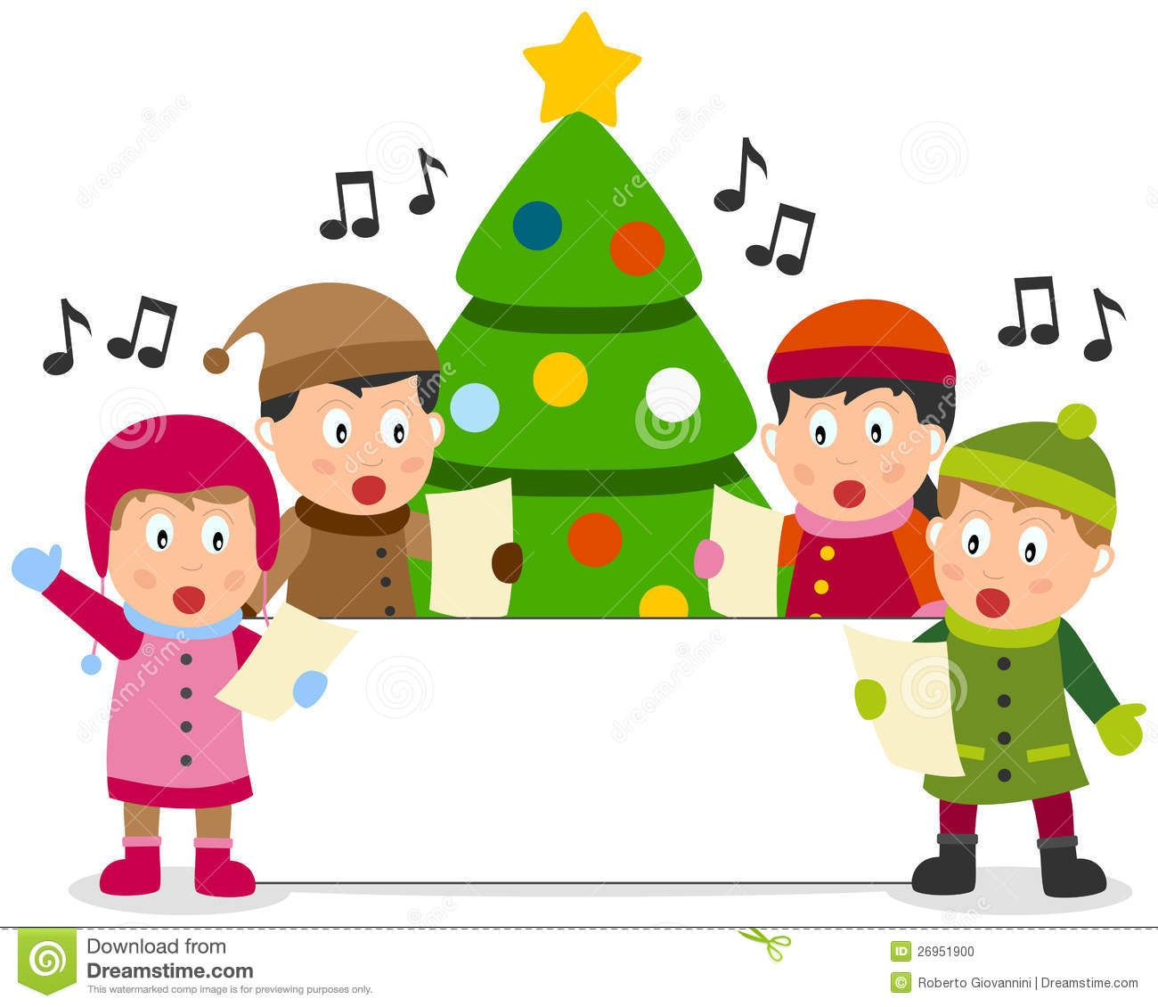 of four cute kids singing Christmas carols in front of a.