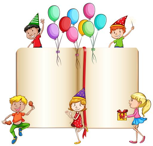 Children celebrating and a book.