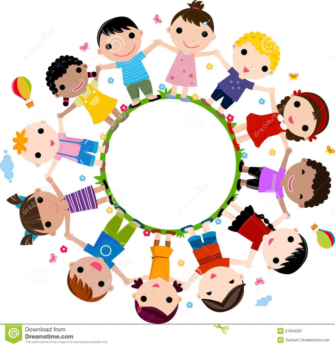 kids in a circle clipart.