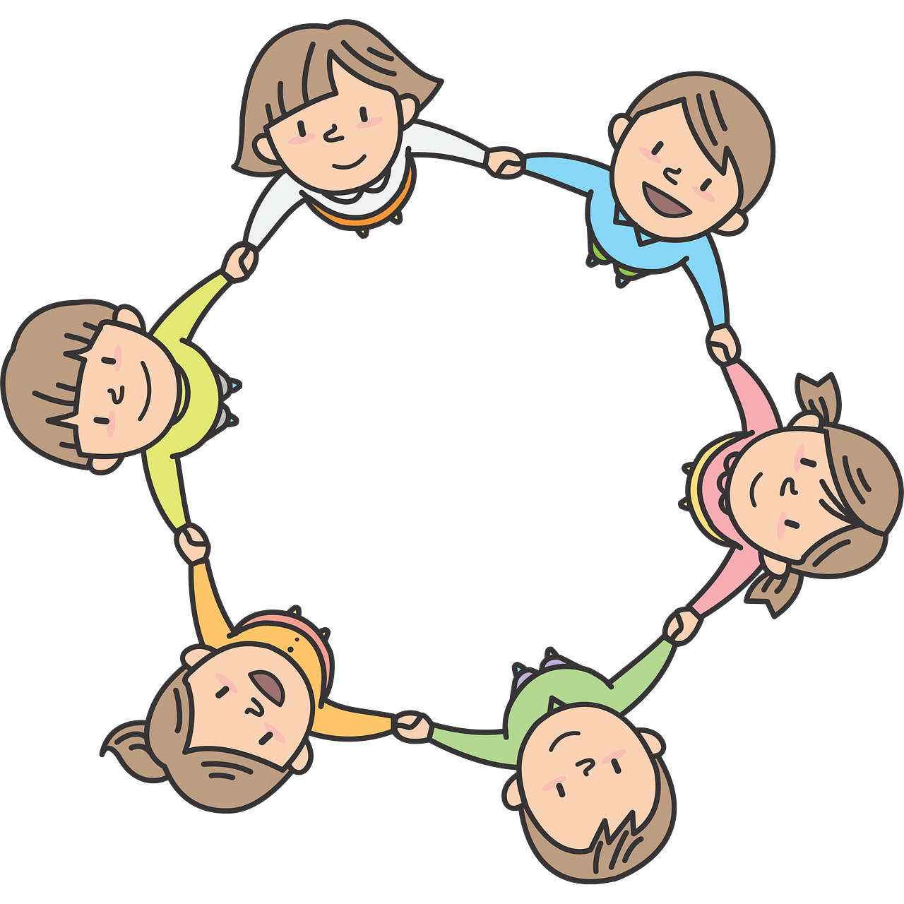 Children in circle clipart. Free download..