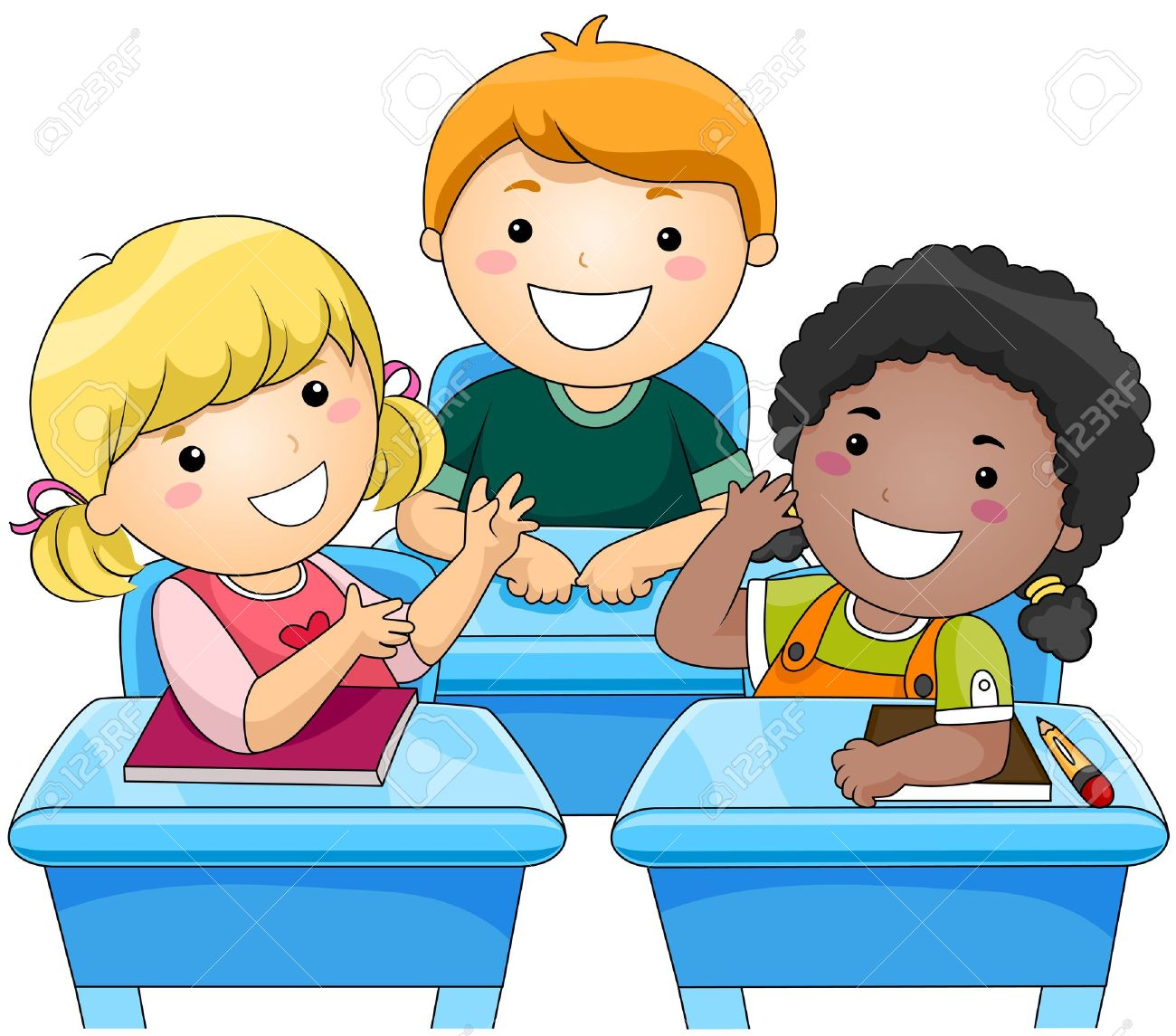 Children Talking In Classroom Clipart.