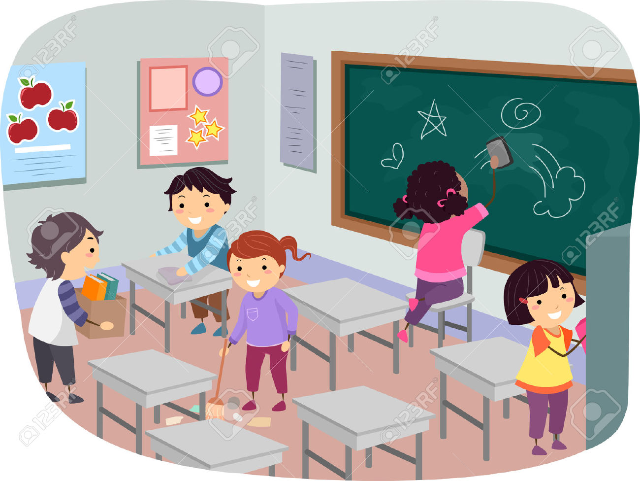 Illustration Of Stickman Kids Cleaning Their Classroom Together.
