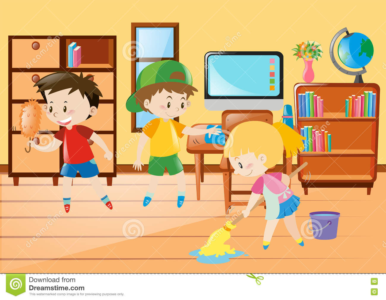 Three Kids Cleaning Classroom Stock Vector.