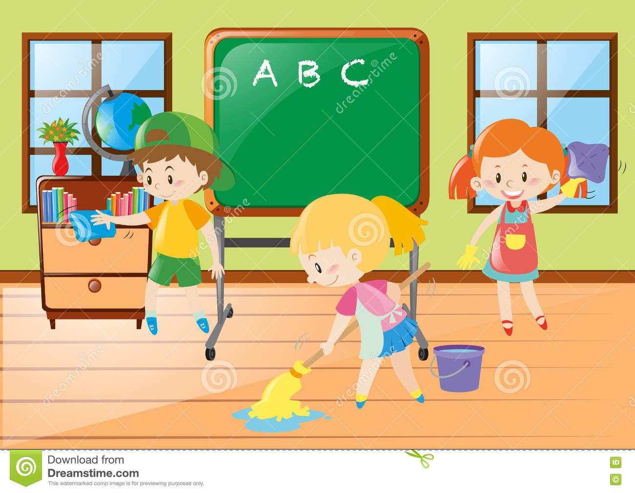 Children Help Cleaning Classroom Stock Vector.