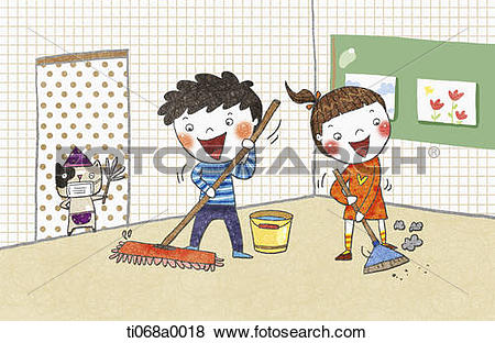 Stock Illustration of The children cleaning the classroom.