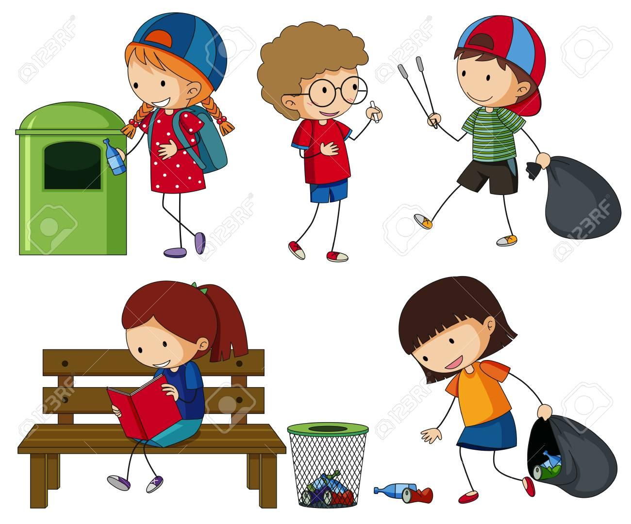 Kids cleaning up the trash illustration..