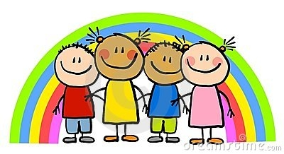 Rainbow children clipart.