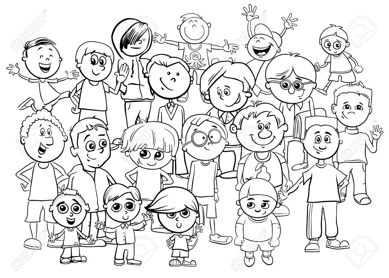 Black and White Cartoon Illustration of Elementary School Age...