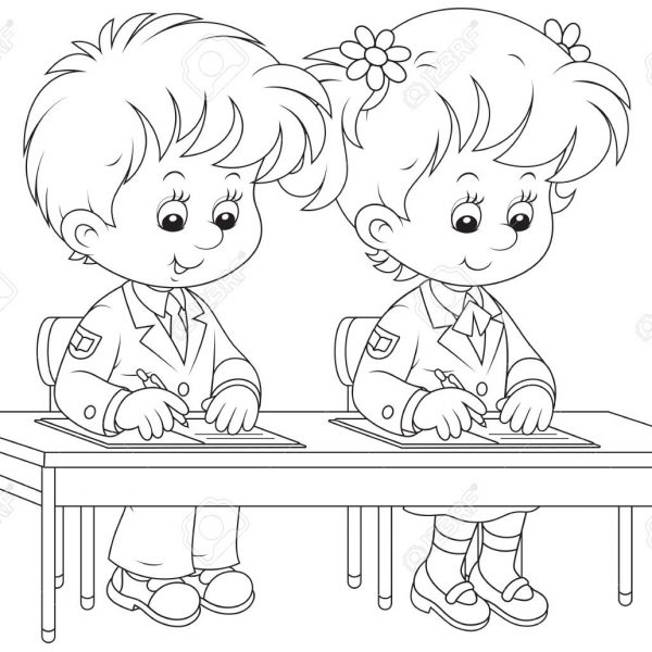School Children Writing Clipart Black And White with Kids Writing.