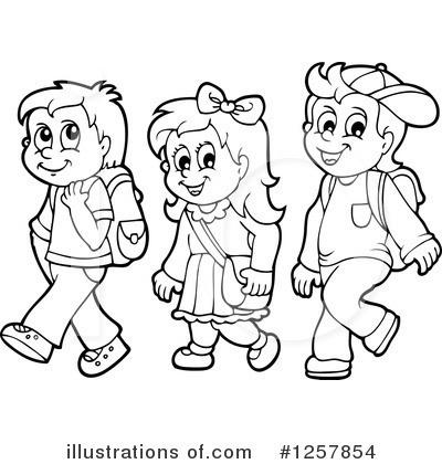 School Children Clipart Black And White 1.