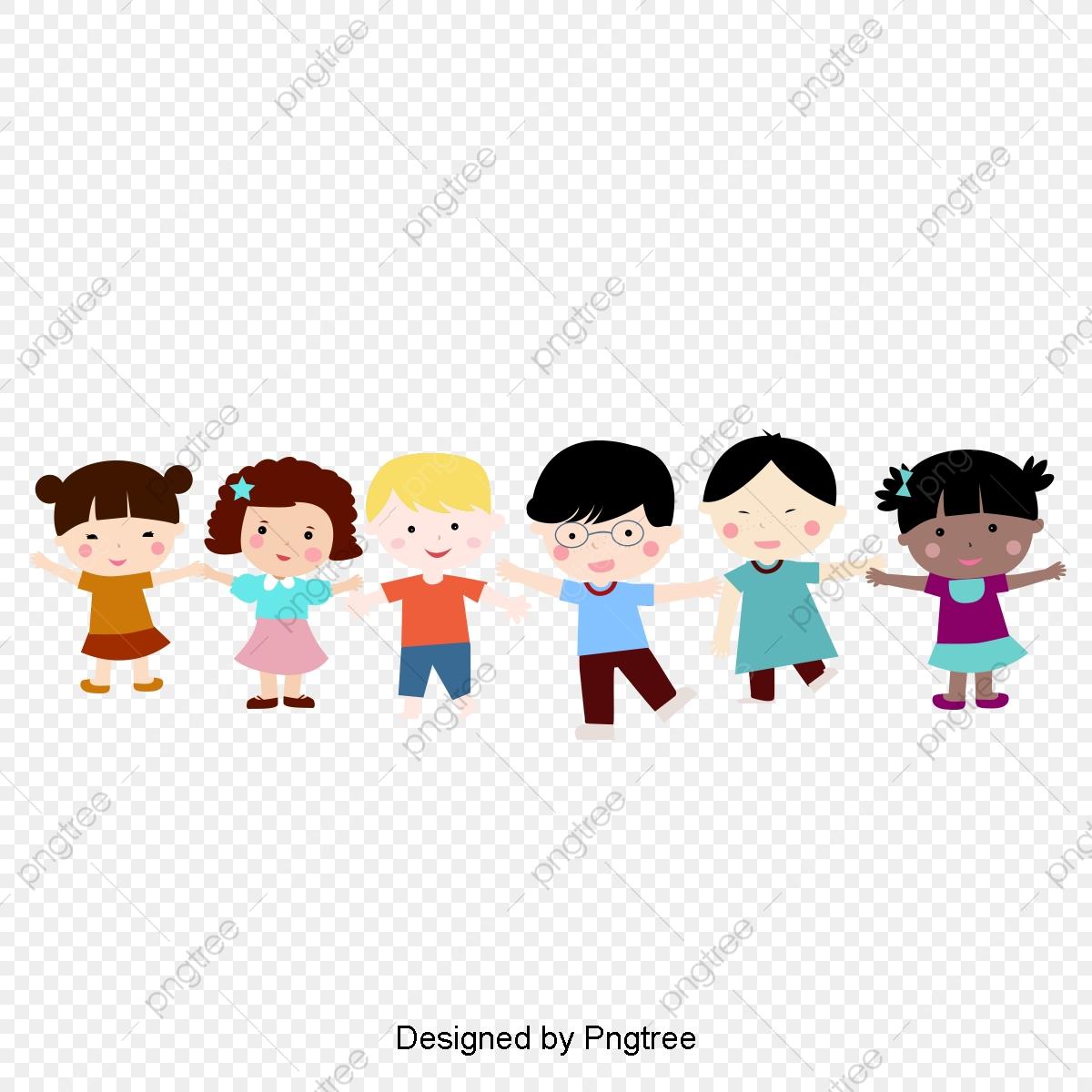 Cartoon Children Holding Hands Happy Kids, Clipart, Children.