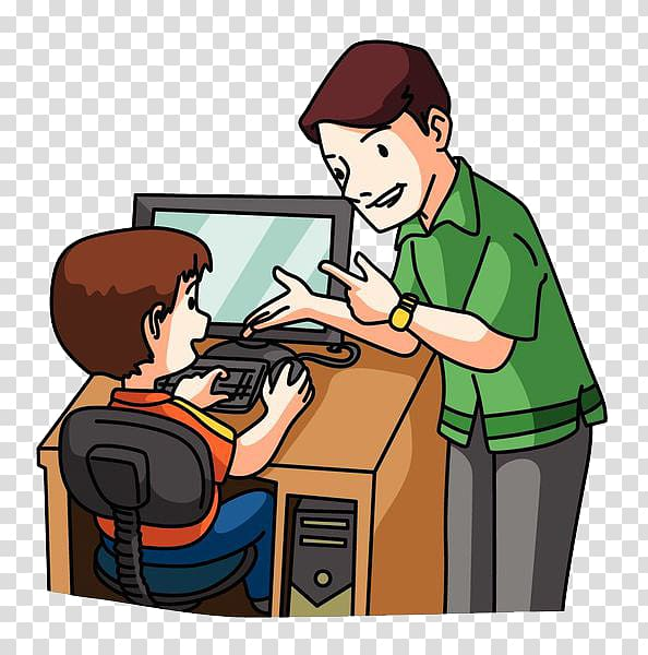 Laptop Computer , Children learning computer transparent background.