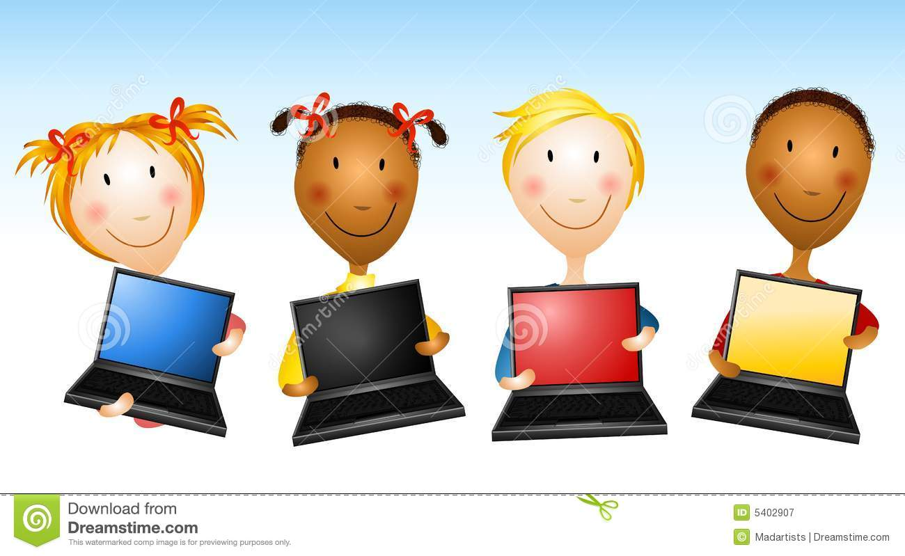 Kids Holding Laptop Computers Stock Illustration.