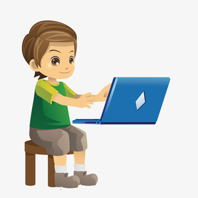 Children Floating Computer, Children Vec #100062.