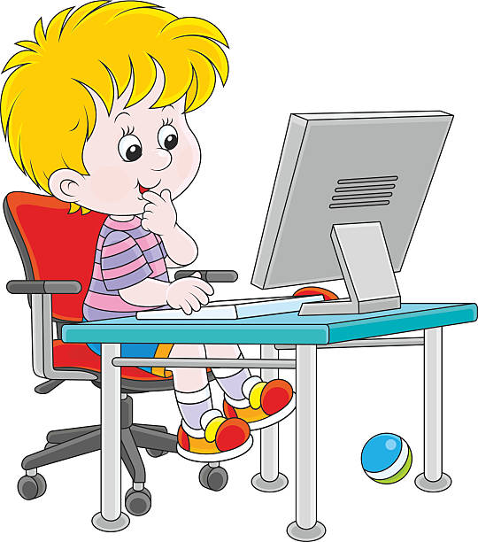 Kids On Computers Clipart.