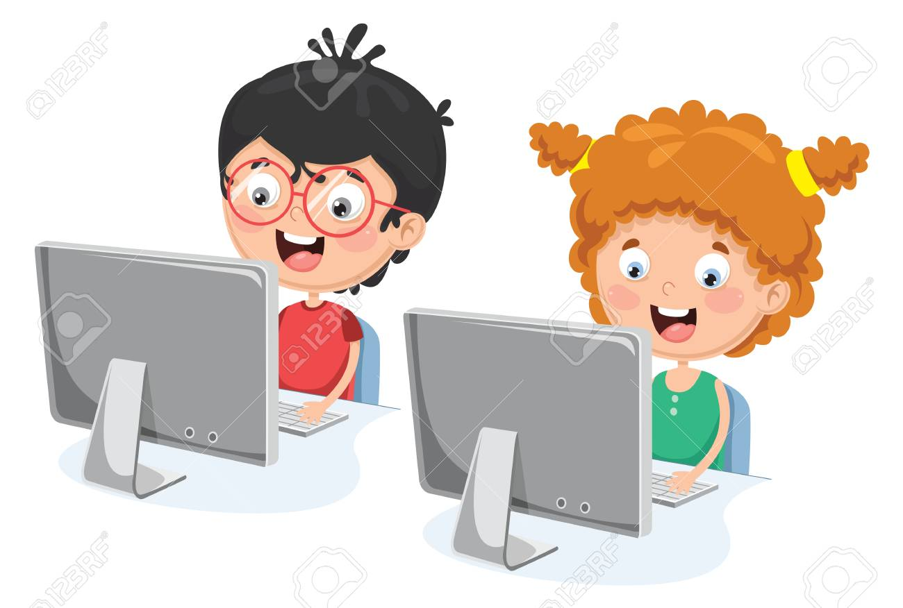 A Vector Illustration Of Kids With Computer.