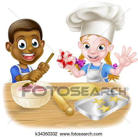 Cartoon Kids Cooking Clipart.