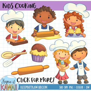 Cute Kids Cooking Clip Art Set.