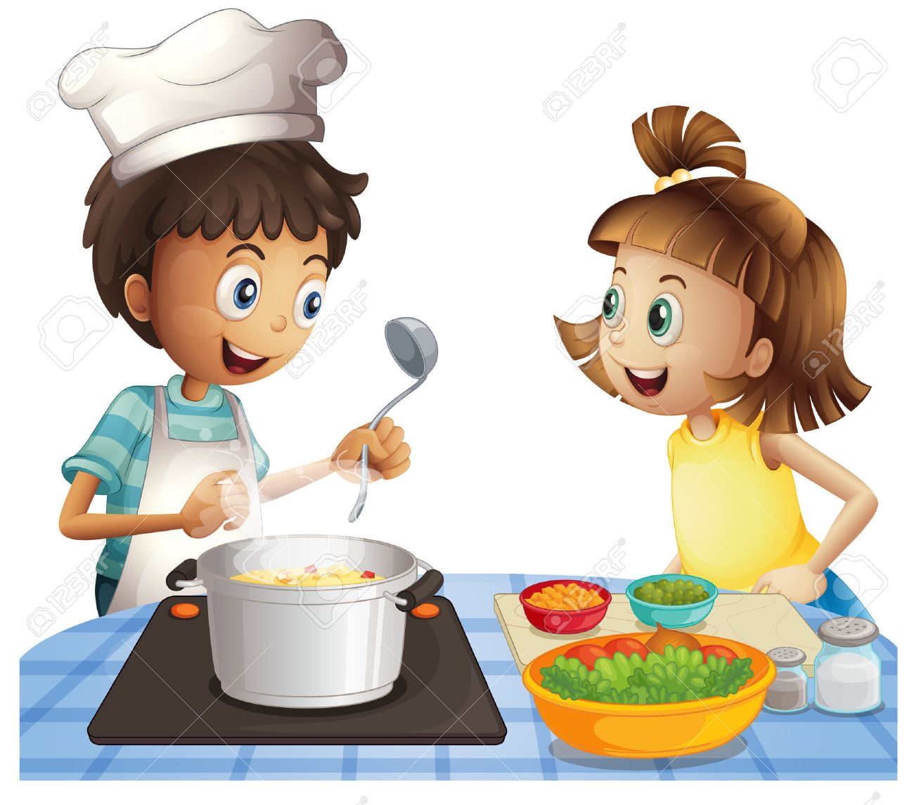 Illustration of two children cooking.
