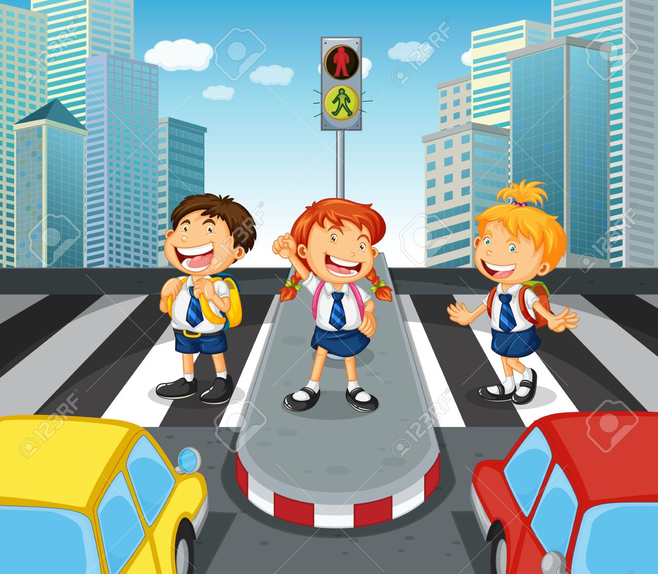 Children crossing the road on zebra crossing illustration.